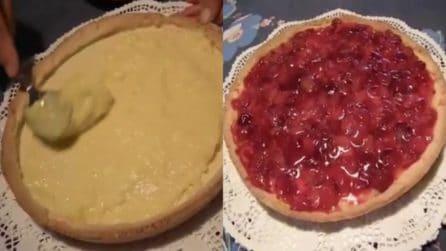 Crostata con crema pasticcera e ciliegie: un dessert golosissimo