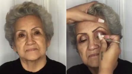 La bellezza non ha età: trucca la nonna 80enne e realizza il suo sogno