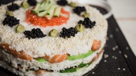 Sushi cake: per chi non riesce ad accontentarsi delle piccole porzioni!