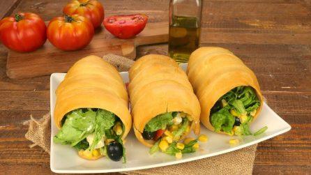 Coni ripieni: l'idea originale per servire l'insalata!
