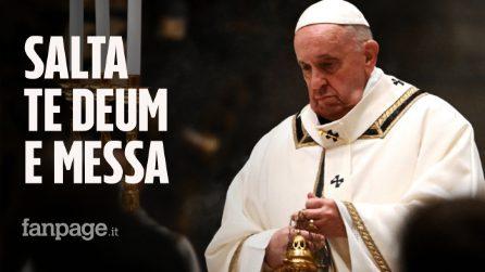 Papa Francesco salta Te Deum e Messa di Capodanno per un problema di salute
