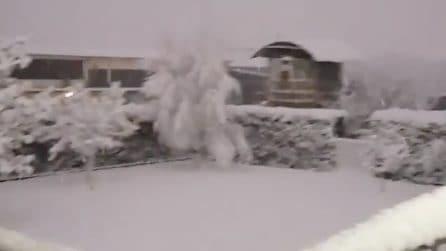 L'intensa nevicata copre tutto intorno: il panorama è incantevole