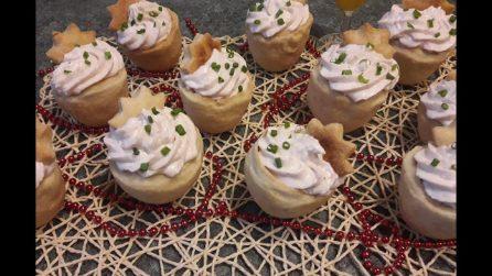 Cestini di pasta brisé con mousse di ricotta: l'aperitivo gustoso per Capodanno