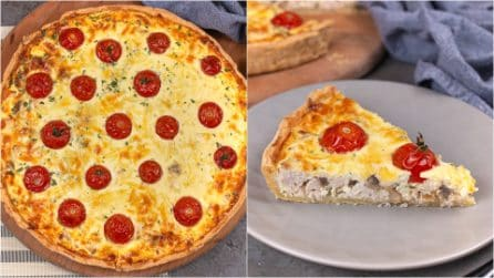 Cherry tomatoes and chicken quiche: a savory cake to try for a tasty lunch!