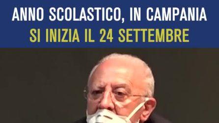 """Riapertura delle scuole, De Luca: """"In Campania riapriranno il 24 settembre"""""""