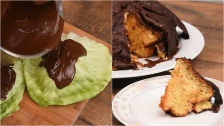 Ecco come usare delle foglie di cavolo verza per creare una bellissima decorazione al cioccolato!