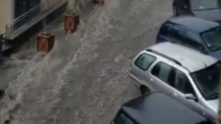 Nubifragio a Rocca di Papa, strade come fiumi