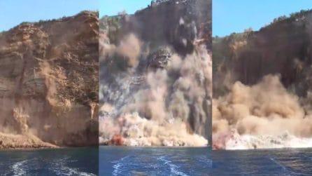 Ventotene, frana la costa sull'isola: le riprese dal mare