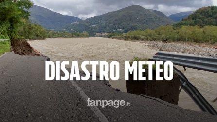 Maltempo in Piemonte, crollano trecento metri di strada nel Vercellese: un morto