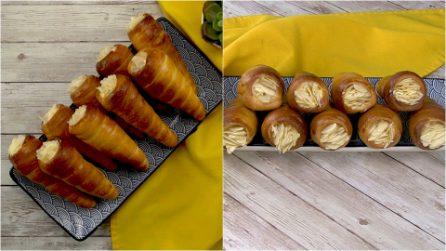 Coni brioche ripieni di crema: il dolcetto goloso che piacerà a tutti!