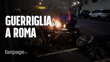 Guerriglia a Roma contro il coprifuoco: bombe carta e lancio di oggetti