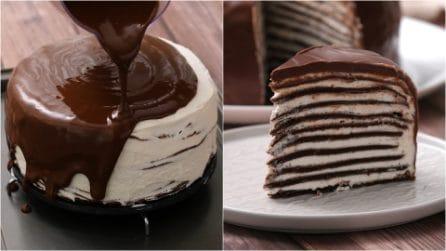 Torta di crepes al cioccolato: il dolce sbalorditivo pronto in pochi minuti!