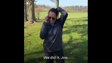 """Biden nuovo presidente Usa, al telefono con Kamala Harris: """"Ce l'abbiamo fatta Joe"""""""