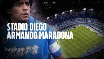 Morto Maradona, a Napoli Stadio San Paolo illuminato in suo onore