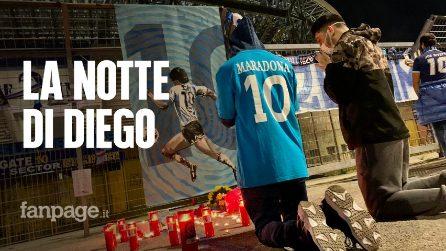 La notte di Diego Armando Maradona al San Paolo. Centinaia di tifosi fuori lo stadio per ricordarlo