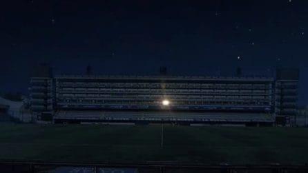 Alla Bombonera è illuminato solo il posto dove si sedeva Diego