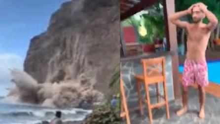 La scogliera viene giù improvvisamente: vacanzieri rischiano di essere travolti