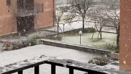 Neve a Milano, la città si sveglia imbiancata