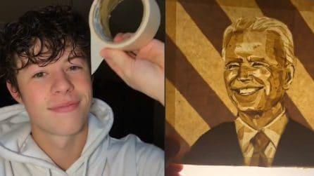Crea ritratti con il nastro adesivo: da Black Panther a Joe Biden, l'arte di Luke conquista il mondo
