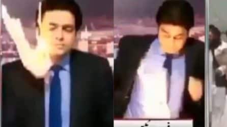Colpito da una palla di fuoco mentre è in diretta: paura durante il telegiornale