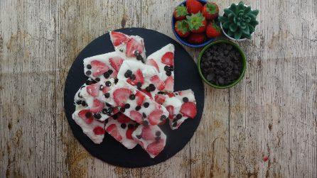 Strawberry and chocolate yogurt bar