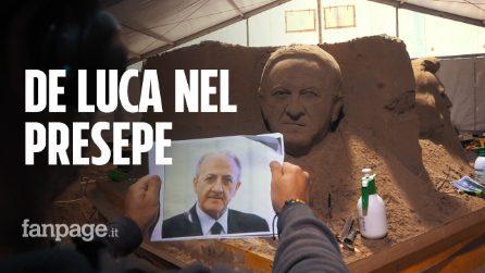 """Salerno, il volto di Vincenzo De Luca nel presepe di sabbia: """"Un omaggio a chi rappresenta la città"""""""
