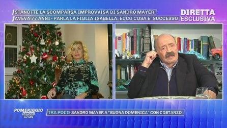 """A 'Pomeriggio Cinque' Isabella, figlia di Sandro Mayer: """"È morto all'improvviso per un'infezione"""""""