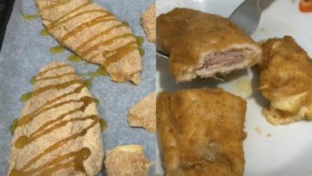 Pollo farcito e impanato al forno: un secondo piatto veloce e squisito