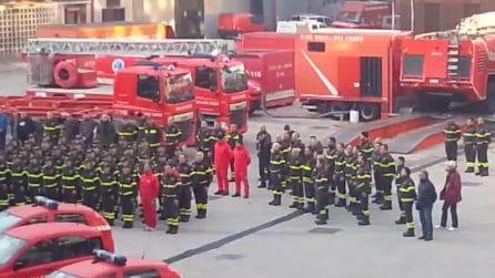 Esplosione Rieti, i vigili del fuoco di Napoli omaggiano il collega morto da eroe
