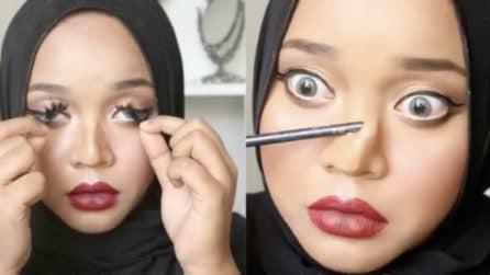 La trasformazione al contrario: rimuove il make up e sorprende tutti