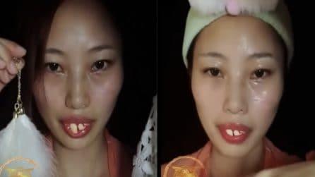Si prepara per cambiare il suo aspetto: il make up la trasforma