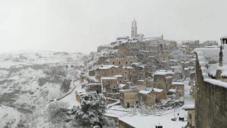 Nevicata a Matera: lo spettacolo dei Sassi imbiancati