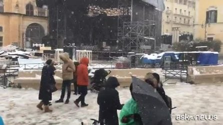 Uno scenario da cartolina, i Sassi di Matera sotto la neve