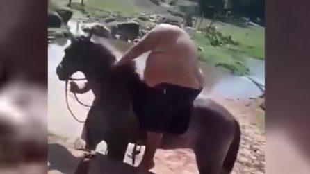 Tenta di salire sul cavallo, l'animale reagisce male