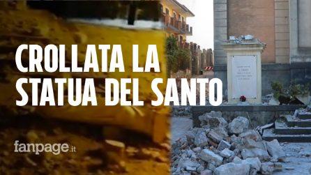 """Terremoto Catania, crolla la statua del Santo protettore dai terremoti: """"Parroco vivo per miracolo"""""""