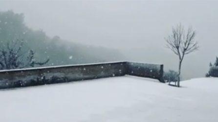 Sicilia, arriva la neve a Enna: lo scenario invernale è incantevole