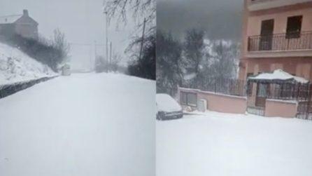 Monti Dauni sommersi dalla neve: tutto si dipinge di bianco