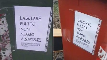 """""""Lasciare pulito, non siamo a Napoli"""", messaggio razzista sui bidoni dell'immondizia"""