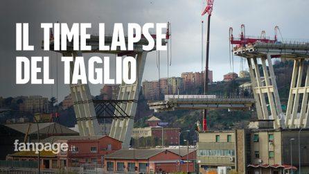 Ponte Morandi, il time lapse dello smontaggio