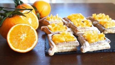 Tartine dolci di sfoglia: la crema all'arancia vi lascerà senza parole