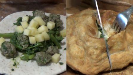 Pizza fritta con salsiccia e broccoli: una vera delizia per il palato