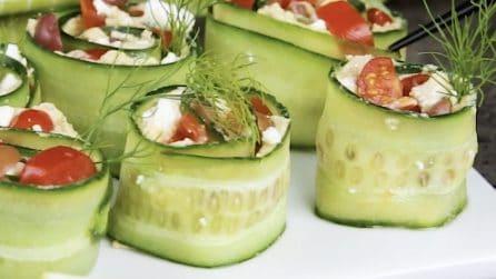 Involtini di cetriolo: l'idea sfiziosa per un aperitivo saporito!
