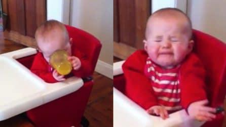 Assaggia per la prima volta la spremuta d'arancia: la divertentissima reazione