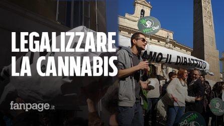 Legalizzazione cannabis, uno spinello gigante a Montecitorio durante il flashmob dei Radicali