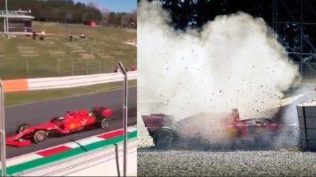 Ferrari, Vettel si schianta a 240 km/h in curva