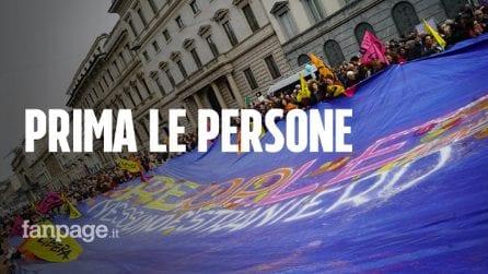 """Manifestazione antirazzista a Milano, Landini a Salvini: """"La vera lotta falla all'evasione fiscale"""""""