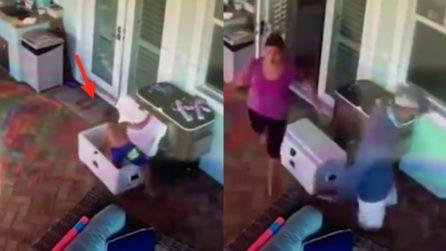 Bimbo resta intrappolato nel frigo portatile e i genitori non riescono a trovarlo