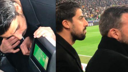 """""""Ma che fallo è"""", la reazione dei calciatori della Juve in tribuna"""