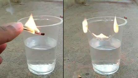 Dà fuoco a un bicchiere di plastica semipieno: ecco cosa accade