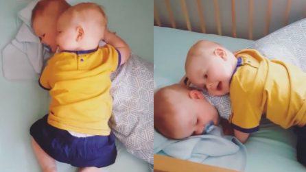 Il bimbo vuole accudire e proteggere il suo fratellino: davvero tenerissimo